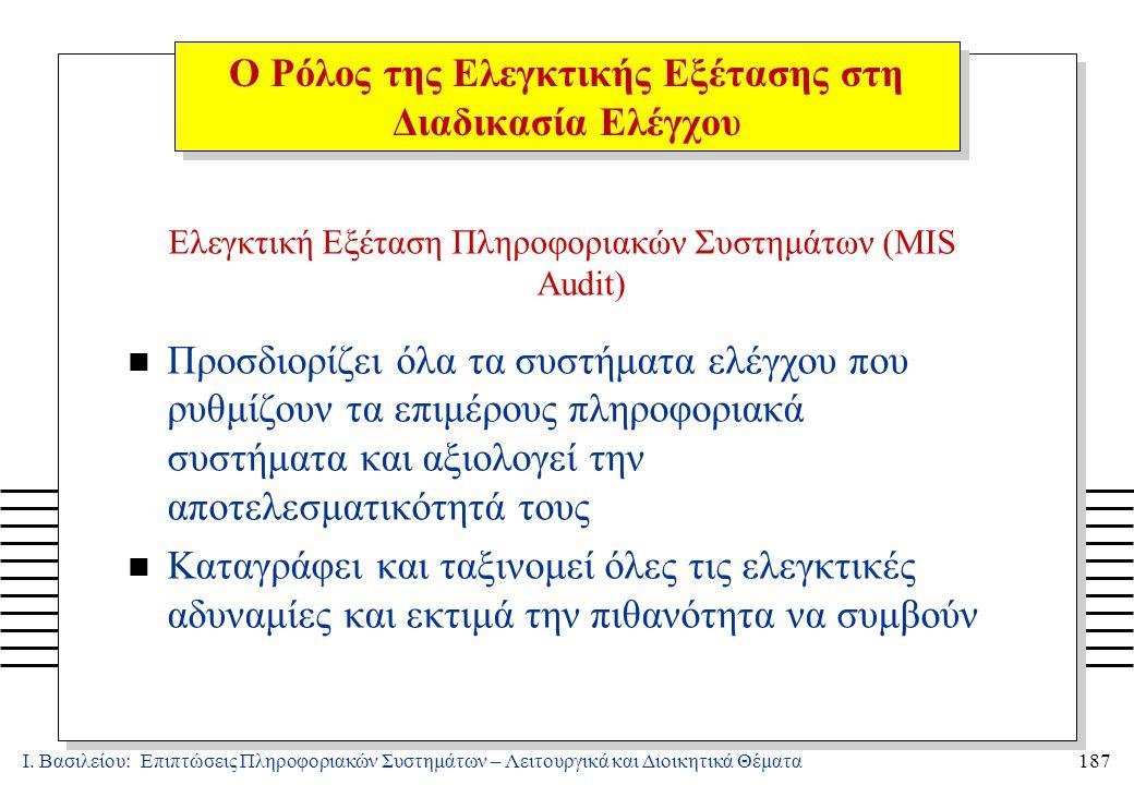 Ι. Βασιλείου: Επιπτώσεις Πληροφοριακών Συστημάτων – Λειτουργικά και Διοικητικά Θέματα187 Ελεγκτική Εξέταση Πληροφοριακών Συστημάτων (MIS Audit) n Προσ