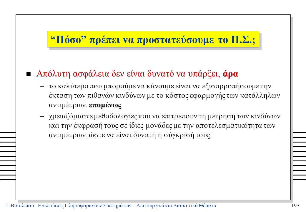 Ι. Βασιλείου: Επιπτώσεις Πληροφοριακών Συστημάτων – Λειτουργικά και Διοικητικά Θέματα193 άρα n Απόλυτη ασφάλεια δεν είναι δυνατό να υπάρξει, άρα επομέ