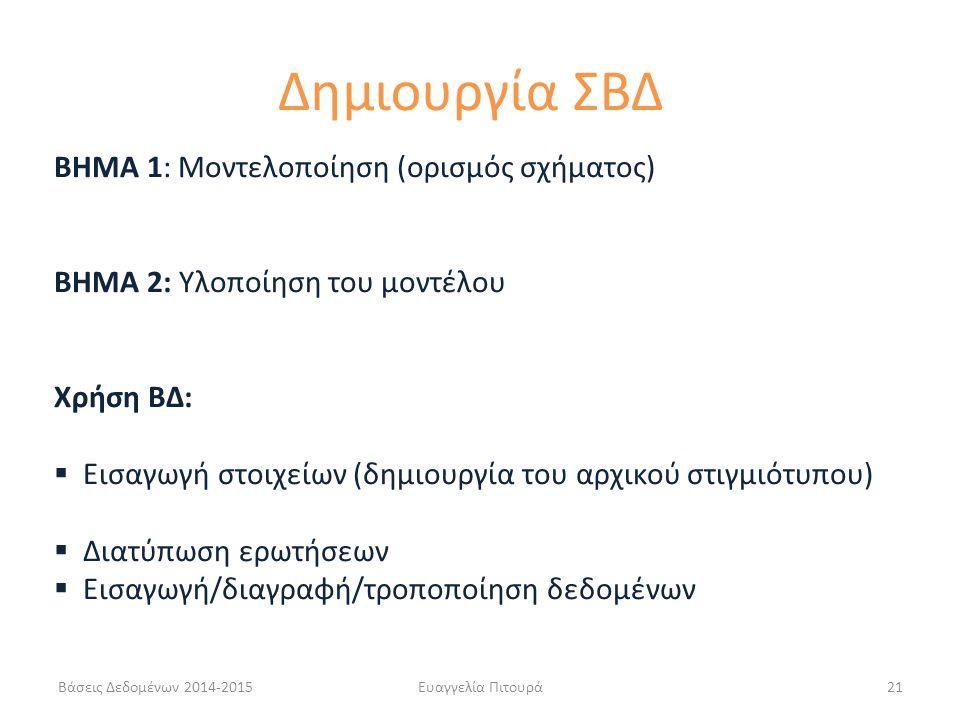 21 ΒΗΜΑ 1: Μοντελοποίηση (ορισμός σχήματος) BHMA 2: Υλοποίηση του μοντέλου Χρήση ΒΔ:  Εισαγωγή στοιχείων (δημιουργία του αρχικού στιγμιότυπου)  Διατύπωση ερωτήσεων  Εισαγωγή/διαγραφή/τροποποίηση δεδομένων Δημιουργία ΣΒΔ Βάσεις Δεδομένων 2014-2015
