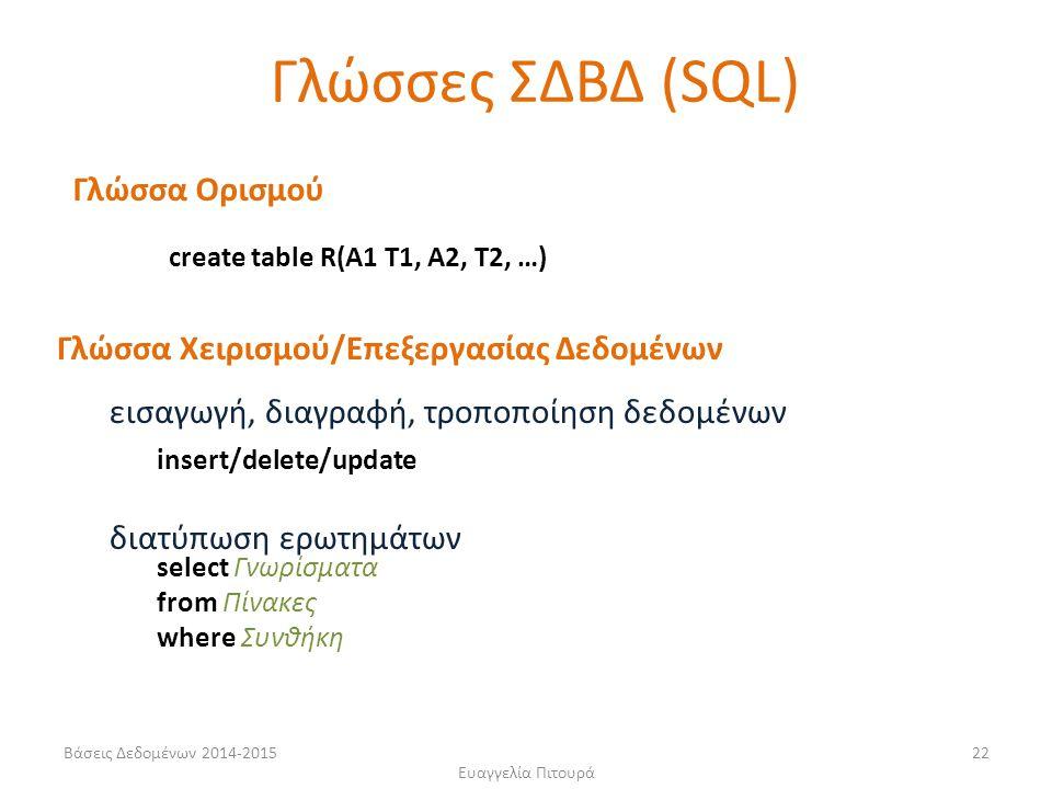 Ευαγγελία Πιτουρά 22 Γλώσσα Ορισμού Γλώσσα Χειρισμού/Επεξεργασίας Δεδομένων εισαγωγή, διαγραφή, τροποποίηση δεδομένων διατύπωση ερωτημάτων Γλώσσες ΣΔΒΔ (SQL) create table R(A1 T1, A2, T2, …) insert/delete/update select Γνωρίσματα from Πίνακες where Συνθήκη Βάσεις Δεδομένων 2014-2015