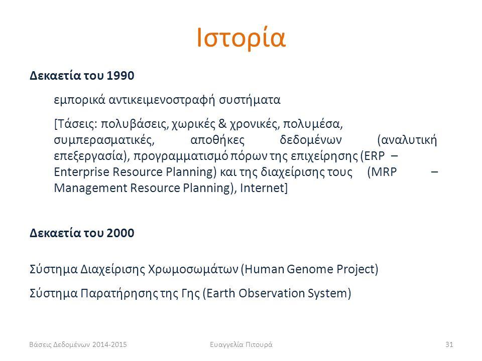 Ευαγγελία Πιτουρά31 Δεκαετία του 1990 εμπορικά αντικειμενοστραφή συστήματα [Τάσεις: πολυβάσεις, χωρικές & χρονικές, πολυμέσα, συμπερασματικές, αποθήκες δεδομένων (αναλυτική επεξεργασία), προγραμματισμό πόρων της επιχείρησης (ERP – Enterprise Resource Planning) και της διαχείρισης τους (MRP – Management Resource Planning), Internet] Δεκαετία του 2000 Σύστημα Διαχείρισης Χρωμοσωμάτων (Human Genome Project) Σύστημα Παρατήρησης της Γης (Earth Observation System) Ιστορία Βάσεις Δεδομένων 2014-2015
