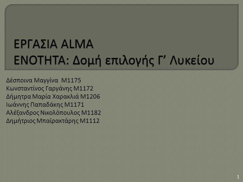 Δέσποινα Μαγγίνα M1175 Κωνσταντίνος Γαργάνης Μ1172 Δήμητρα Μαρία Χαρακλιά Μ1206 Ιωάννης Παπαδάκης Μ1171 Αλέξανδρος Νικολόπουλος Μ1182 Δημήτριος Μπαϊρακτάρης Μ1112 1
