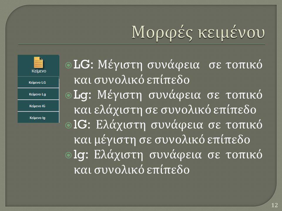  LG: Μέγιστη συνάφεια σε τοπικό και συνολικό επίπεδο  Lg: Μέγιστη συνάφεια σε τοπικό και ελάχιστη σε συνολικό επίπεδο  lG: Ελάχιστη συνάφεια σε τοπικό και μέγιστη σε συνολικό επίπεδο  lg: Ελάχιστη συνάφεια σε τοπικό και συνολικό επίπεδο 12