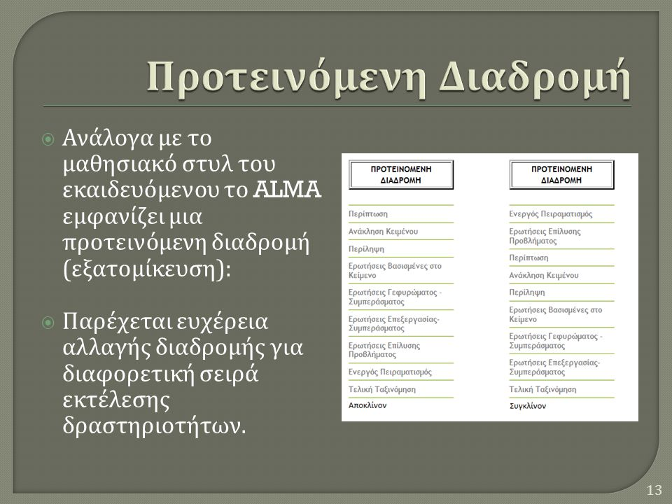  Ανάλογα με το μαθησιακό στυλ του εκαιδευόμενου το ALMA εμφανίζει μια προτεινόμενη διαδρομή ( εξατομίκευση ):  Παρέχεται ευχέρεια αλλαγής διαδρομής για διαφορετική σειρά εκτέλεσης δραστηριοτήτων.