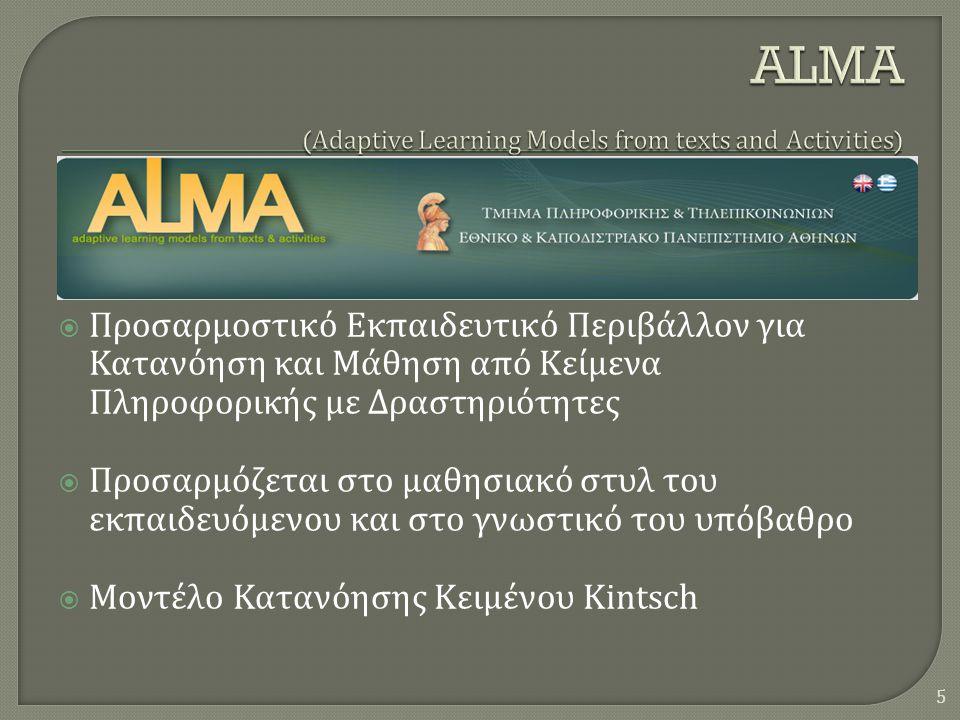  Προσαρμοστικό Εκπαιδευτικό Περιβάλλον για Κατανόηση και Μάθηση από Κείμενα Πληροφορικής με Δραστηριότητες  Προσαρμόζεται στο μαθησιακό στυλ του εκπαιδευόμενου και στο γνωστικό του υπόβαθρο  Μοντέλο Κατανόησης Κειμένου Kintsch 5