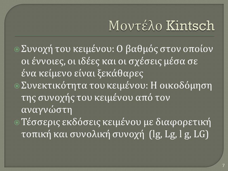  Συνοχή του κειμένου : O βαθμός στον οποίον οι έννοιες, οι ιδέες και οι σχέσεις μέσα σε ένα κείμενο είναι ξεκάθαρες  Συνεκτικότητα του κειμένου : Η οικοδόμηση της συνοχής του κειμένου από τον αναγνώστη  Τέσσερις εκδόσεις κειμένου με διαφορετική τοπική και συνολική συνοχή (lg, Lg, l g, LG) 7