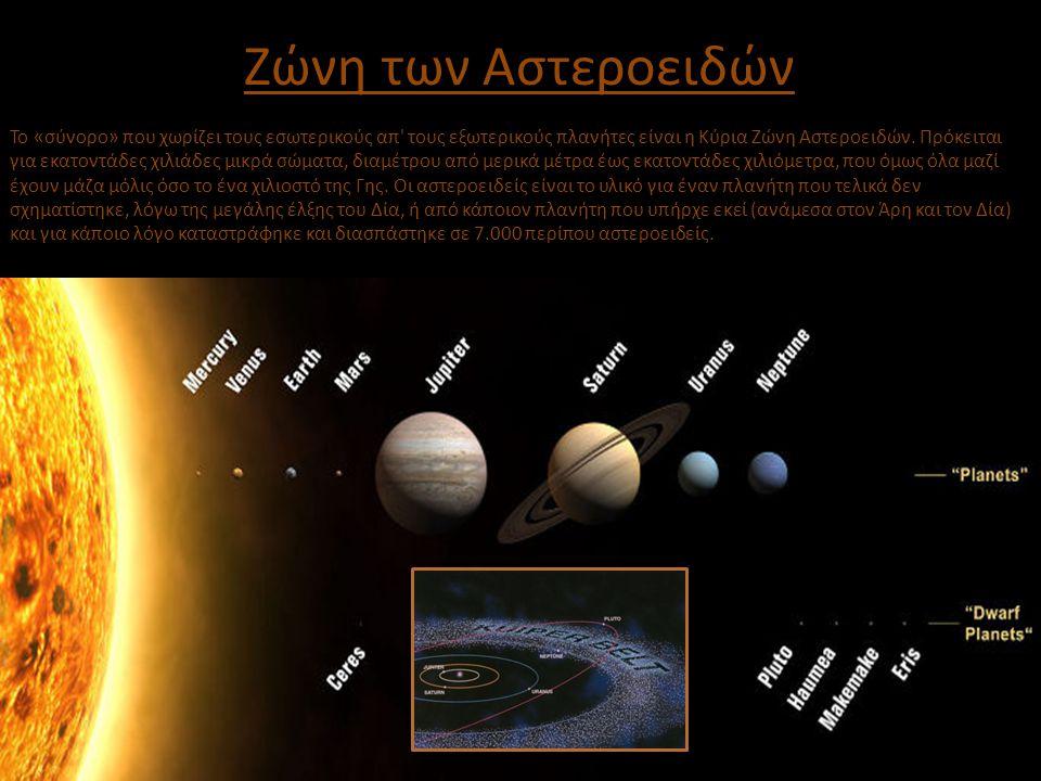 Ζώνη των Αστεροειδών Το «σύνορο» που χωρίζει τους εσωτερικούς απ' τους εξωτερικούς πλανήτες είναι η Κύρια Ζώνη Αστεροειδών. Πρόκειται για εκατοντάδες