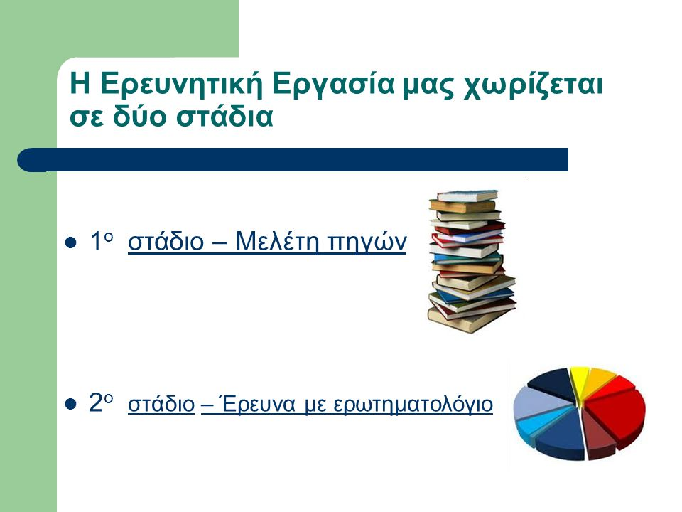 Η Ερευνητική Εργασία μας χωρίζεται σε δύο στάδια 2 ο στάδιο – Έρευνα με ερωτηματολόγιο στάδιο– Έρευνα με ερωτηματολόγιο 1 ο στάδιο – Μελέτη πηγών 1 ο στάδιο – Μελέτη πηγών