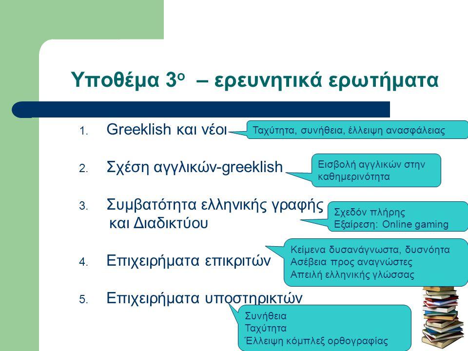 Υποθέμα 4 ο – ερευνητικά ερωτήματα 1.Ελληνικό αλφάβητο 2.