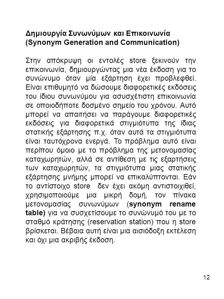 12 Δημιουργία Συνωνύμων και Επικοινωνία (Synonym Generation and Communication) Στην απόκρυψη οι εντολές store ξεκινούν την επικοινωνία, δημιουργώντας μια νέα έκδοση για το συνώνυμο όταν μία εξάρτηση έχει προβλεφθεί.
