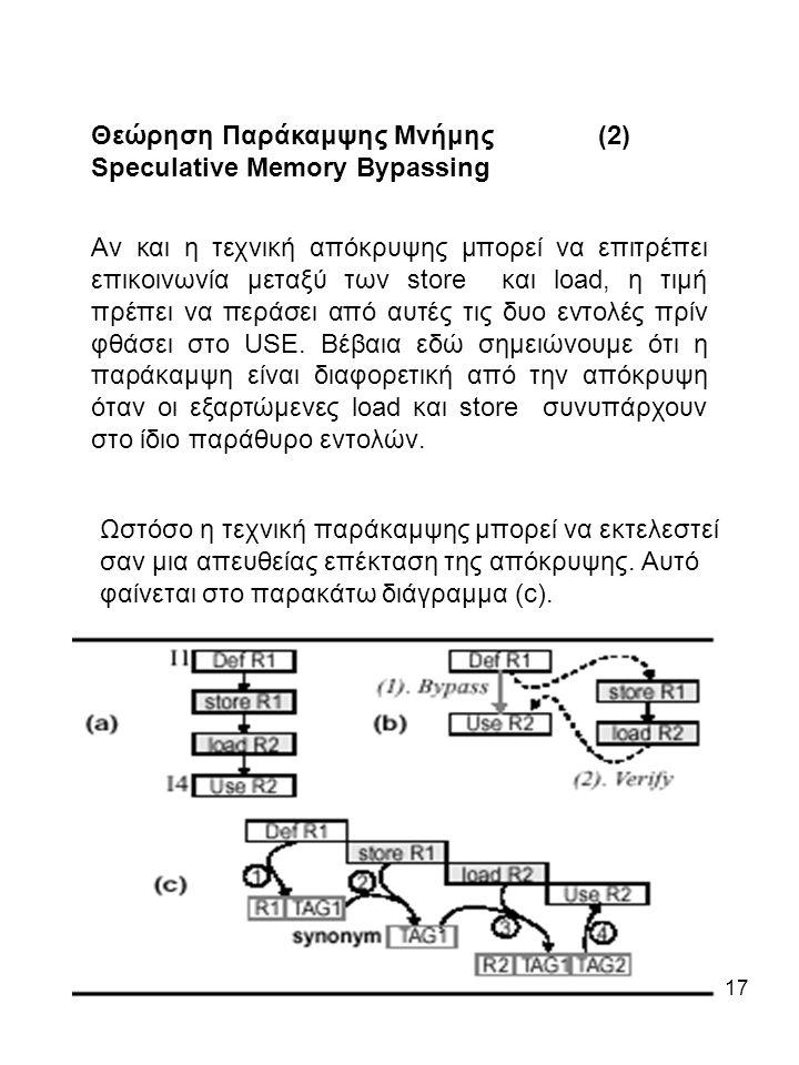 17 Θεώρηση Παράκαμψης Μνήμης (2) Speculative Memory Bypassing Αν και η τεχνική απόκρυψης μπορεί να επιτρέπει επικοινωνία μεταξύ των store και load, η τιμή πρέπει να περάσει από αυτές τις δυο εντολές πρίν φθάσει στο USE.