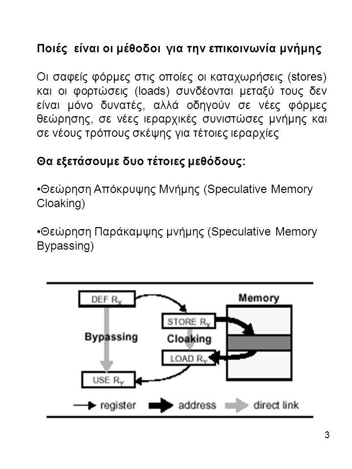 3 Ποιές είναι οι μέθοδοι για την επικοινωνία μνήμης Οι σαφείς φόρμες στις οποίες οι καταχωρήσεις (stores) και οι φορτώσεις (loads) συνδέονται μεταξύ τους δεν είναι μόνο δυνατές, αλλά οδηγούν σε νέες φόρμες θεώρησης, σε νέες ιεραρχικές συνιστώσες μνήμης και σε νέους τρόπους σκέψης για τέτοιες ιεραρχίες Θα εξετάσουμε δυο τέτοιες μεθόδους: Θεώρηση Απόκρυψης Μνήμης (Speculative Memory Cloaking) Θεώρηση Παράκαμψης μνήμης (Speculative Memory Bypassing)