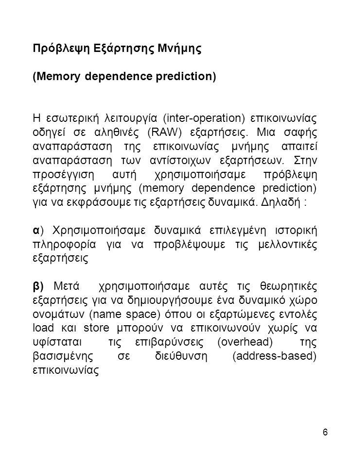 6 Πρόβλεψη Εξάρτησης Μνήμης (Μemory dependence prediction) Η εσωτερική λειτουργία (inter-operation) επικοινωνίας οδηγεί σε αληθινές (RAW) εξαρτήσεις.