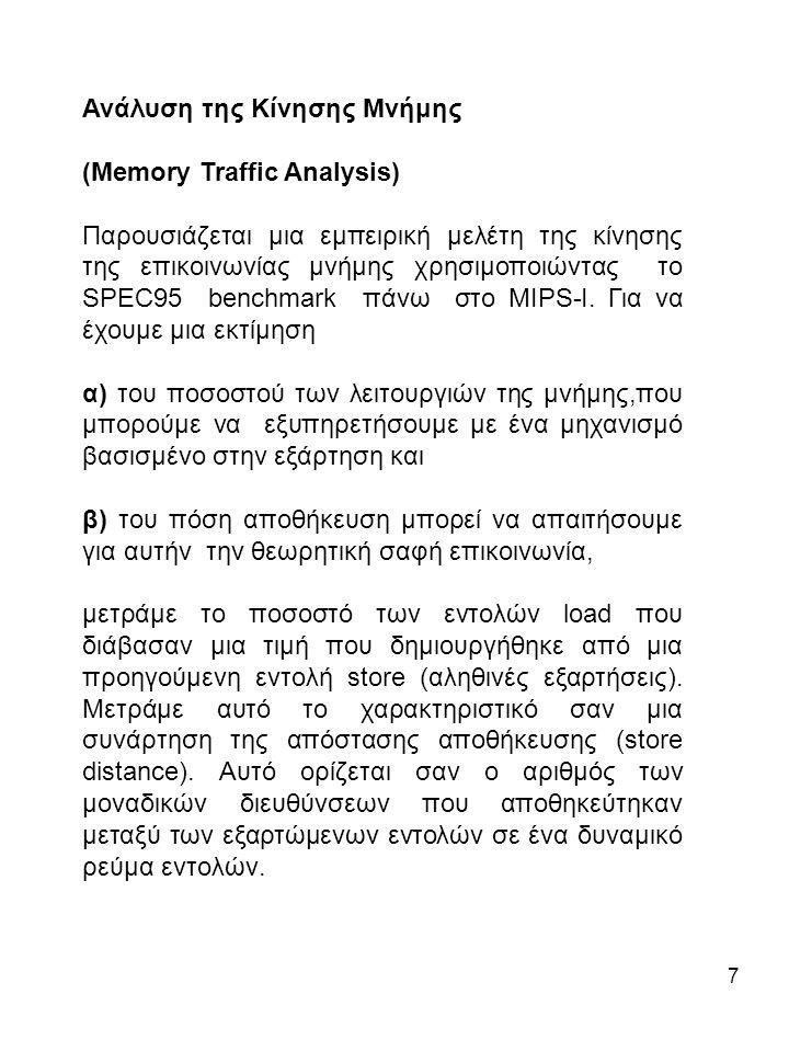 7 Ανάλυση της Κίνησης Μνήμης (Memory Traffic Analysis) Παρουσιάζεται μια εμπειρική μελέτη της κίνησης της επικοινωνίας μνήμης χρησιμοποιώντας το SPEC95 benchmark πάνω στο MIPS-I.