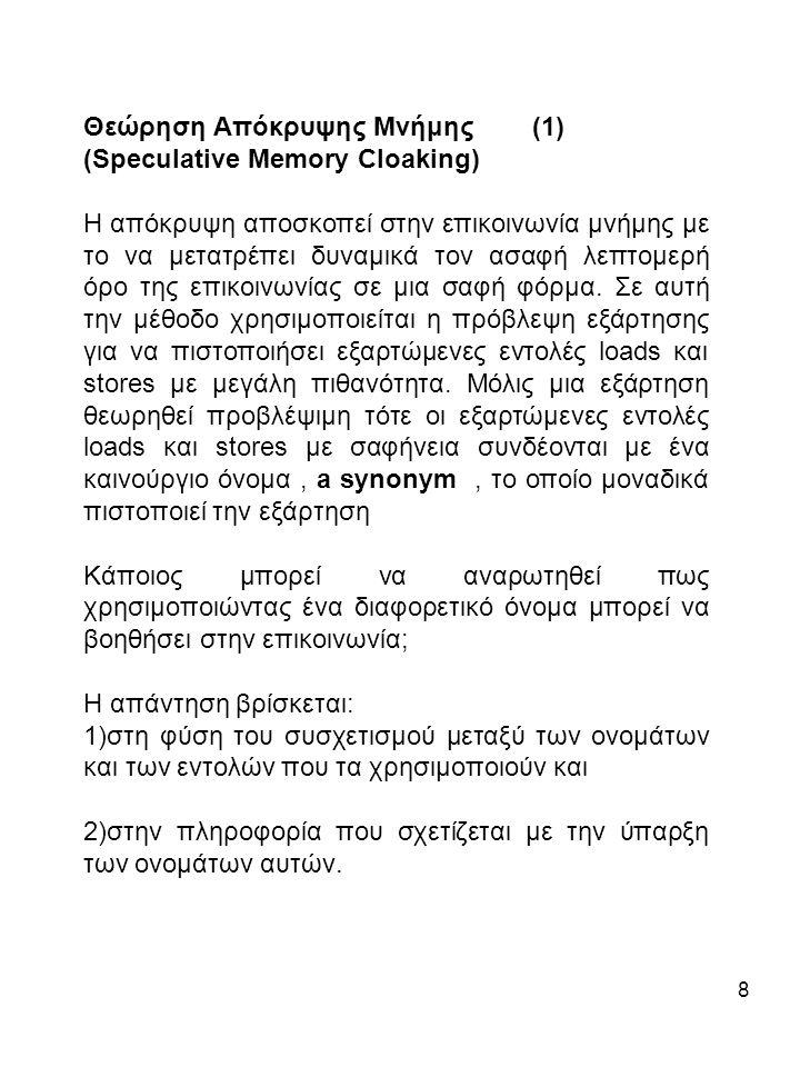 8 Θεώρηση Απόκρυψης Μνήμης (1) (Speculative Memory Cloaking) Η απόκρυψη αποσκοπεί στην επικοινωνία μνήμης με το να μετατρέπει δυναμικά τον ασαφή λεπτομερή όρο της επικοινωνίας σε μια σαφή φόρμα.