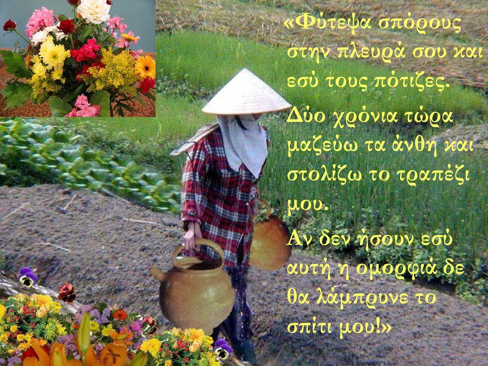 Η γριά χαμογέλασε: «Παρατήρησες ότι στο μονοπάτι υπάρχουν λουλούδια μόνο στη δική σου πλευρά και όχι στη μεριά του άλλου δοχείου; Πρόσεξα την ατέλειά σου και την εκμεταλλεύτηκα.»