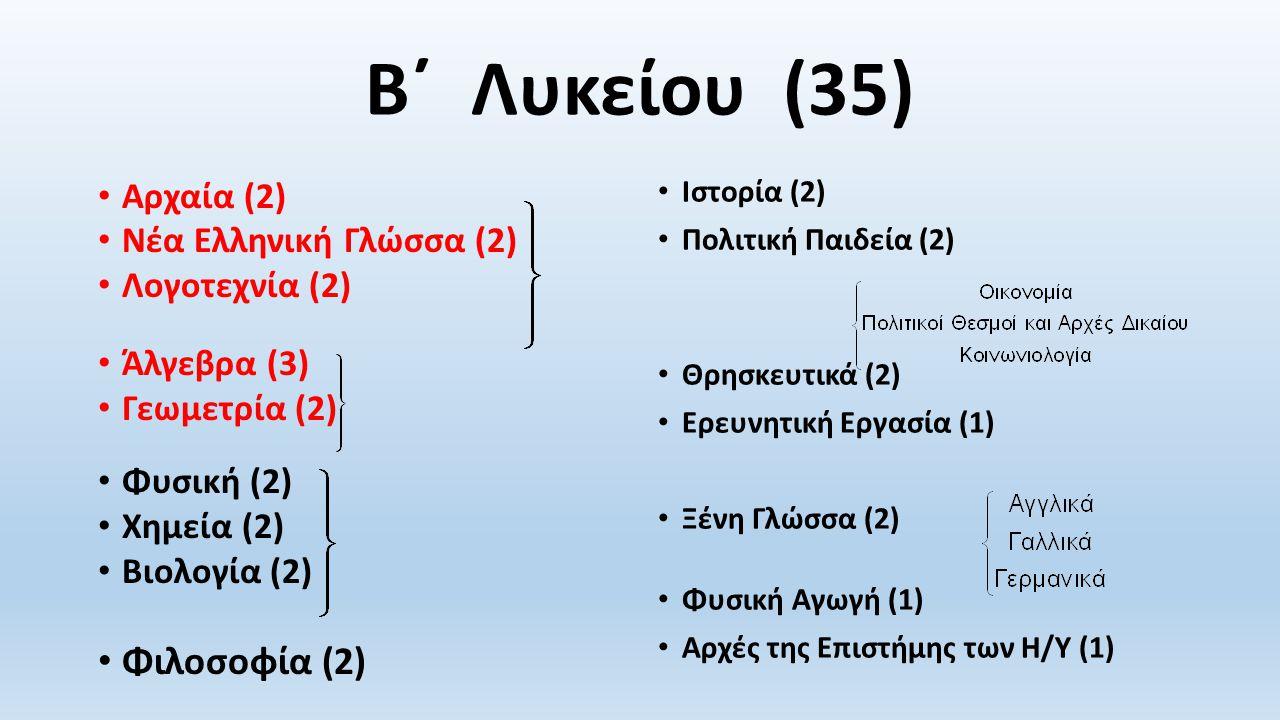 Β΄ Λυκείου (35) Αρχαία (2) Νέα Ελληνική Γλώσσα (2) Λογοτεχνία (2) Άλγεβρα (3) Γεωμετρία (2) Φυσική (2) Χημεία (2) Βιολογία (2) Φιλοσοφία (2) Ιστορία (2) Πολιτική Παιδεία (2) Θρησκευτικά (2) Ερευνητική Εργασία (1) Ξένη Γλώσσα (2) Φυσική Αγωγή (1) Αρχές της Επιστήμης των Η/Υ (1)