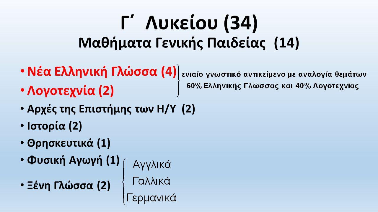 Γ΄ Λυκείου (34) Μαθήματα Γενικής Παιδείας (14) Νέα Ελληνική Γλώσσα (4) Λογοτεχνία (2) Αρχές της Επιστήμης των Η/Υ (2) Ιστορία (2) Θρησκευτικά (1) Φυσική Αγωγή (1) Ξένη Γλώσσα (2)