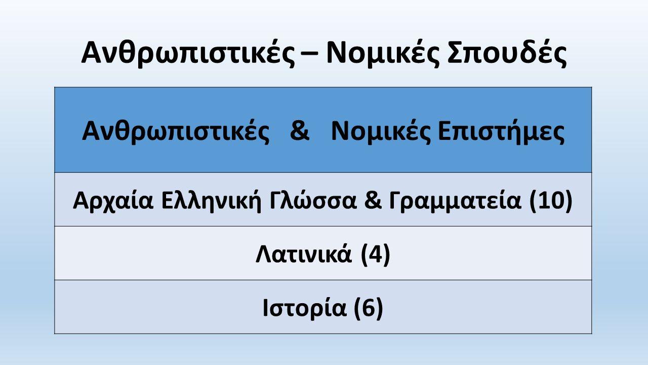 Ανθρωπιστικές – Νομικές Σπουδές Ανθρωπιστικές & Νομικές Επιστήμες Αρχαία Ελληνική Γλώσσα & Γραμματεία (10) Λατινικά (4) Ιστορία (6)