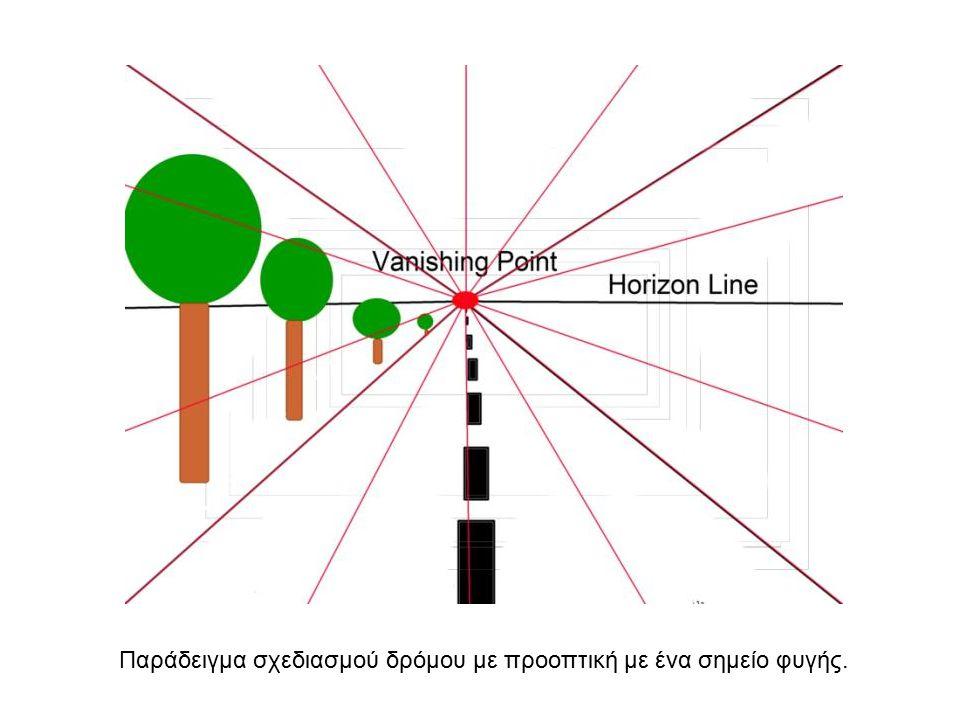 Παράδειγμα σχεδιασμού δρόμου με προοπτική με ένα σημείο φυγής.