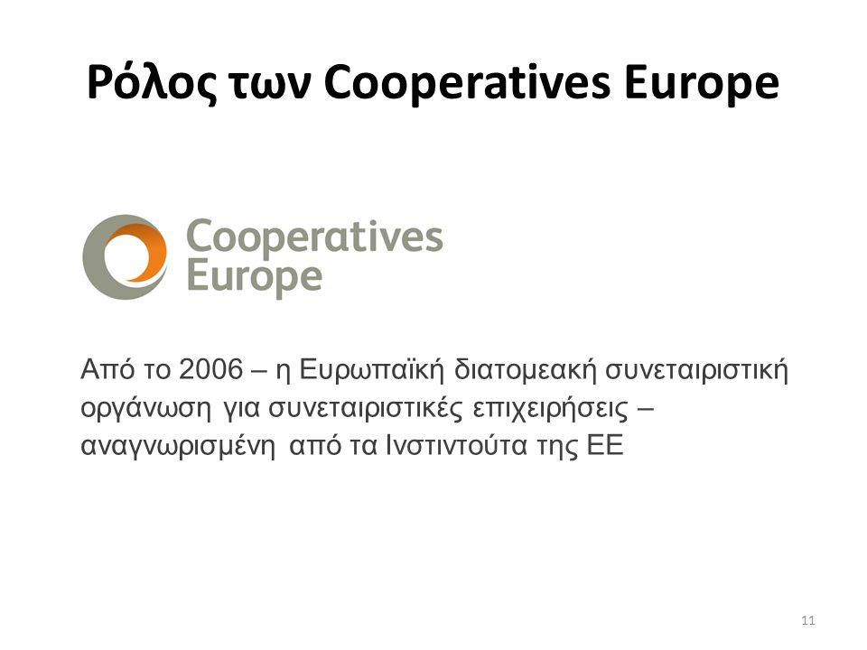 11 Από το 2006 – η Ευρωπαϊκή διατομεακή συνεταιριστική οργάνωση για συνεταιριστικές επιχειρήσεις – αναγνωρισμένη από τα Ινστιντούτα της ΕΕ Ρόλος των Cooperatives Europe
