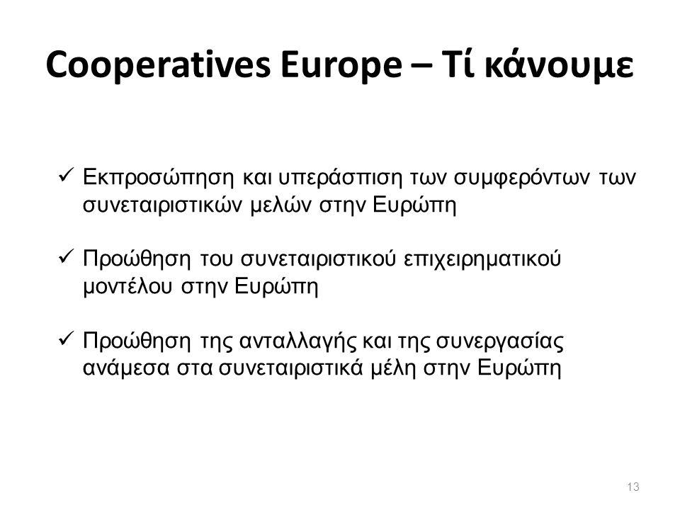 13 Εκπροσώπηση και υπεράσπιση των συμφερόντων των συνεταιριστικών μελών στην Ευρώπη Προώθηση του συνεταιριστικού επιχειρηματικού μοντέλου στην Ευρώπη Προώθηση της ανταλλαγής και της συνεργασίας ανάμεσα στα συνεταιριστικά μέλη στην Ευρώπη Cooperatives Europe – Τί κάνουμε
