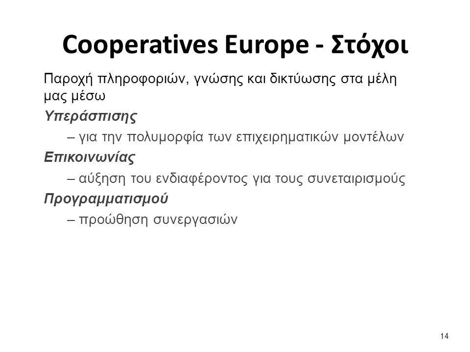 Παροχή πληροφοριών, γνώσης και δικτύωσης στα μέλη μας μέσω Υπεράσπισης – για την πολυμορφία των επιχειρηματικών μοντέλων Επικοινωνίας – αύξηση του ενδιαφέροντος για τους συνεταιρισμούς Προγραμματισμού – προώθηση συνεργασιών 14 Cooperatives Europe - Στόχοι