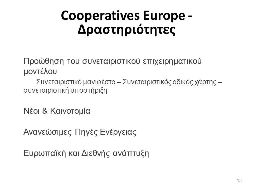 Προώθηση του συνεταιριστικού επιχειρηματικού μοντέλου Συνεταιριστικό μανιφέστο – Συνεταιριστικός οδικός χάρτης – συνεταιριστική υποστήριξη Νέοι & Καινοτομία Ανανεώσιμες Πηγές Ενέργειας Ευρωπαϊκή και Διεθνής ανάπτυξη 15 Cooperatives Europe - Δραστηριότητες