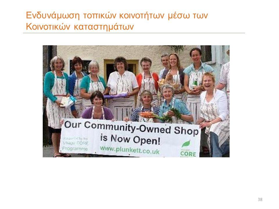 38 Ενδυνάμωση τοπικών κοινοτήτων μέσω των Κοινοτικών καταστημάτων