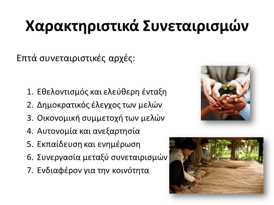 Χαρακτηριστικά Συνεταιρισμών Επτά συνεταιριστικές αρχές: 1.Εθελοντισμός και ελεύθερη ένταξη 2.Δημοκρατικός έλεγχος των μελών 3.Οικονομική συμμετοχή των μελών 4.Αυτονομία και ανεξαρτησία 5.Εκπαίδευση και ενημέρωση 6.Συνεργασία μεταξύ συνεταιρισμών 7.Ενδιαφέρον για την κοινότητα