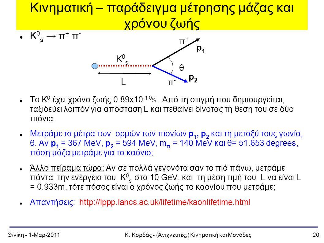 Θ/νίκη - 1-Μαρ-2011Κ. Κορδάς - (Ανιχνευτές,) Κινηματική και Μονάδες20 Κινηματική – παράδειγμα μέτρησης μάζας και χρόνου ζωής Κ 0 s → π + π - Το Κ 0 έχ