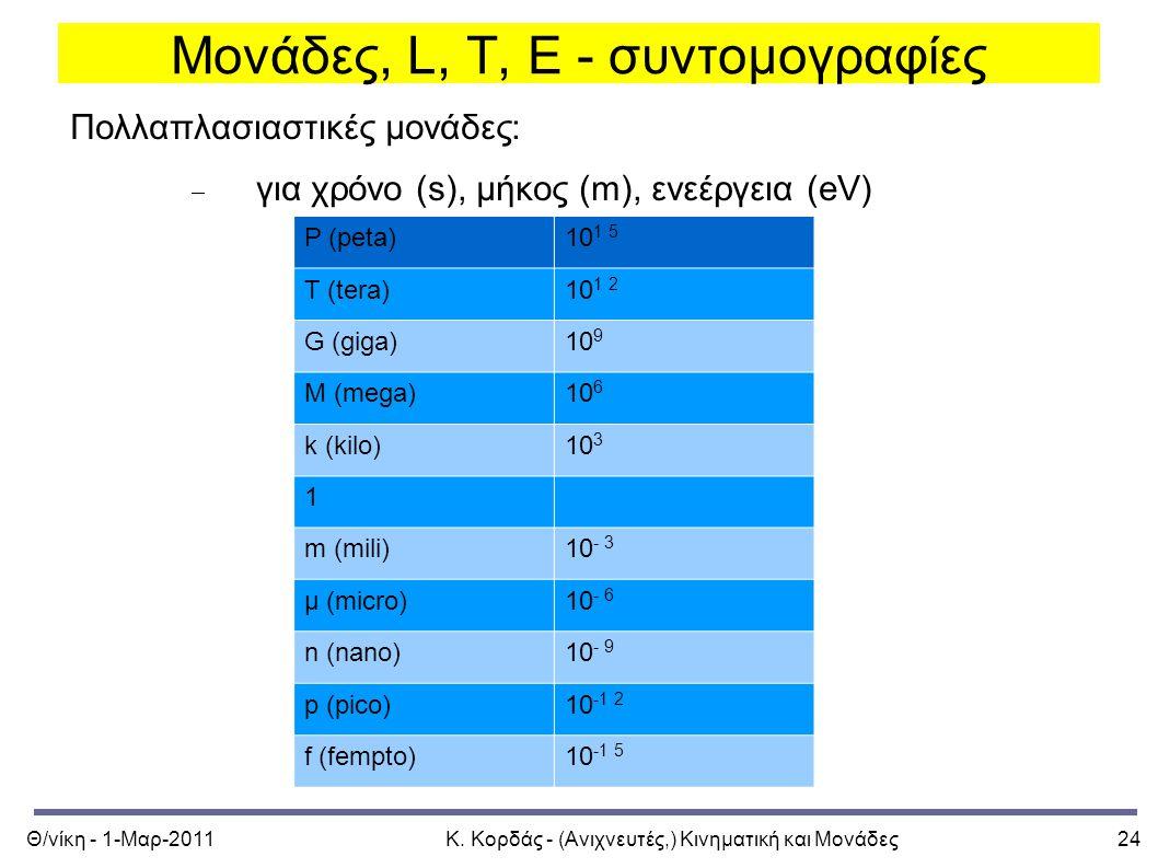 Θ/νίκη - 1-Μαρ-2011Κ. Κορδάς - (Ανιχνευτές,) Κινηματική και Μονάδες24 Μονάδες, L, T, E - συντομογραφίες Πολλαπλασιαστικές μονάδες:  για χρόνο (s), μή