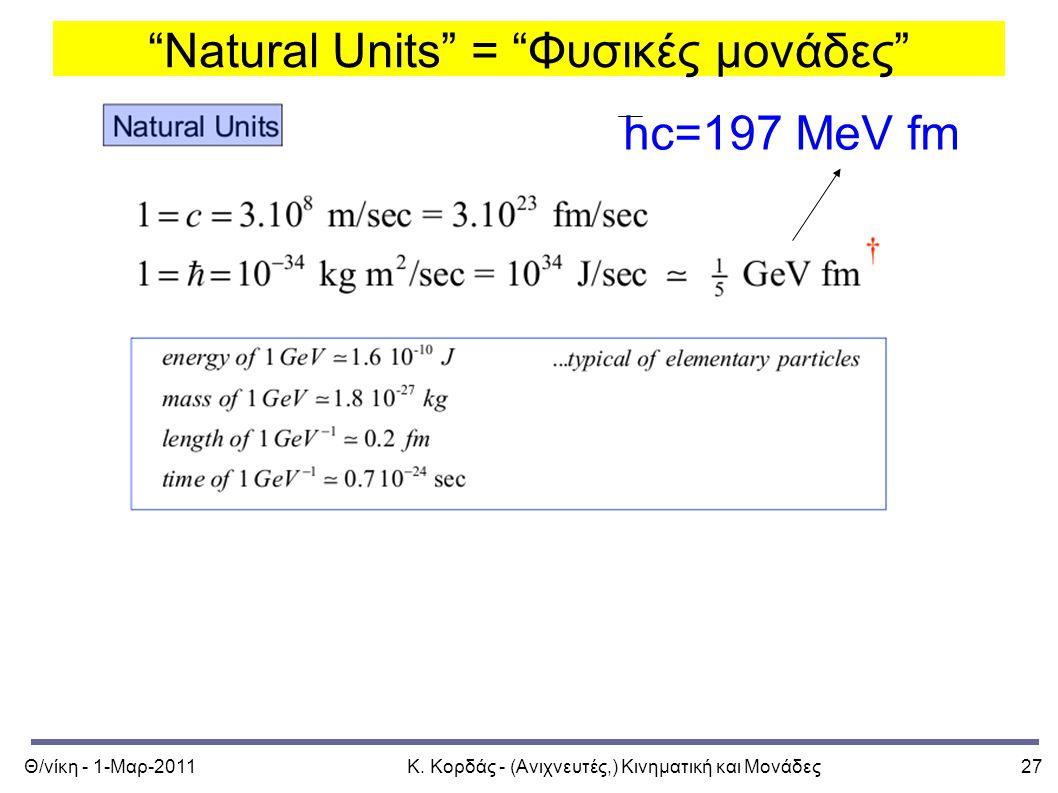 """Θ/νίκη - 1-Μαρ-2011Κ. Κορδάς - (Ανιχνευτές,) Κινηματική και Μονάδες27 """"Natural Units"""" = """"Φυσικές μονάδες"""" hc=197 MeV fm"""