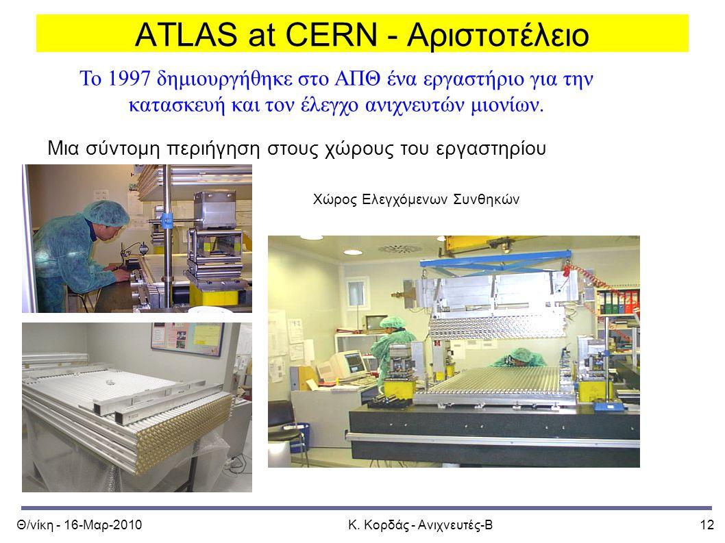 Θ/νίκη - 16-Μαρ-2010Κ. Κορδάς - Ανιχνευτές-Β12 ATLAS at CERN - Αριστοτέλειο Μια σύντομη περιήγηση στους χώρους του εργαστηρίου Το 1997 δημιουργήθηκε σ