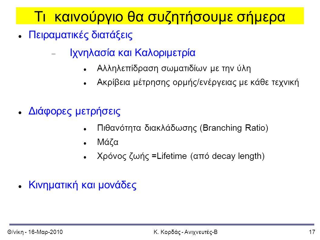Θ/νίκη - 16-Μαρ-2010Κ. Κορδάς - Ανιχνευτές-Β17 Τι καινούργιο θα συζητήσουμε σήμερα Πειραματικές διατάξεις  Ιχνηλασία και Καλοριμετρία Αλληλεπίδραση σ