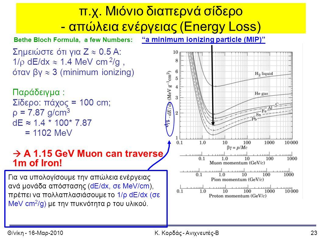 """Θ/νίκη - 16-Μαρ-2010Κ. Κορδάς - Ανιχνευτές-Β23 π.χ. Μιόνιο διαπερνά σίδερο - απώλεια ενέργειας (Energy Loss) Bethe Bloch Formula, a few Numbers: """"a mi"""