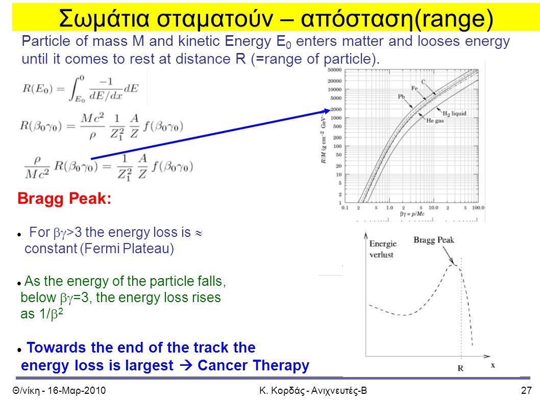 Θ/νίκη - 16-Μαρ-2010Κ. Κορδάς - Ανιχνευτές-Β27 Particle of mass M and kinetic Energy E 0 enters matter and looses energy until it comes to rest at dis
