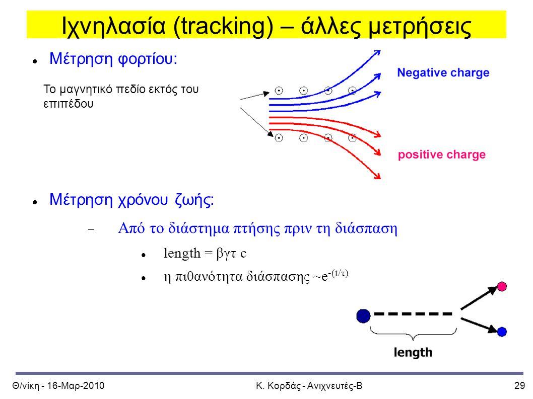 Θ/νίκη - 16-Μαρ-2010Κ. Κορδάς - Ανιχνευτές-Β29 Ιχνηλασία (tracking) – άλλες μετρήσεις Μέτρηση φορτίου: Μέτρηση χρόνου ζωής:  Από το διάστημα πτήσης π