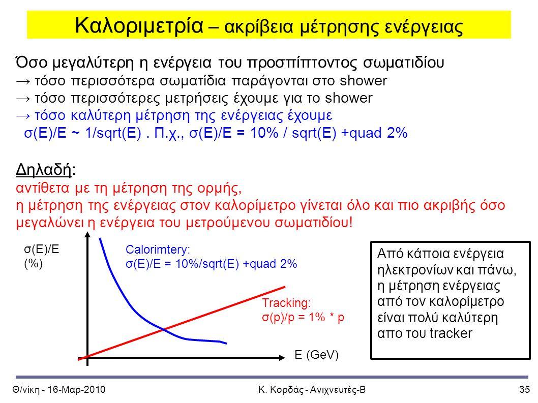 Θ/νίκη - 16-Μαρ-2010Κ. Κορδάς - Ανιχνευτές-Β35 Καλοριμετρία – ακρίβεια μέτρησης ενέργειας Όσο μεγαλύτερη η ενέργεια του προσπίπτοντος σωματιδίου → τόσ