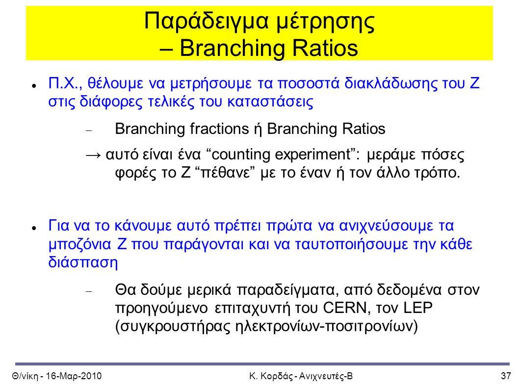 Θ/νίκη - 16-Μαρ-2010Κ. Κορδάς - Ανιχνευτές-Β37 Παράδειγμα μέτρησης – Branching Ratios Π.Χ., θέλουμε να μετρήσουμε τα ποσοστά διακλάδωσης του Ζ στις δι