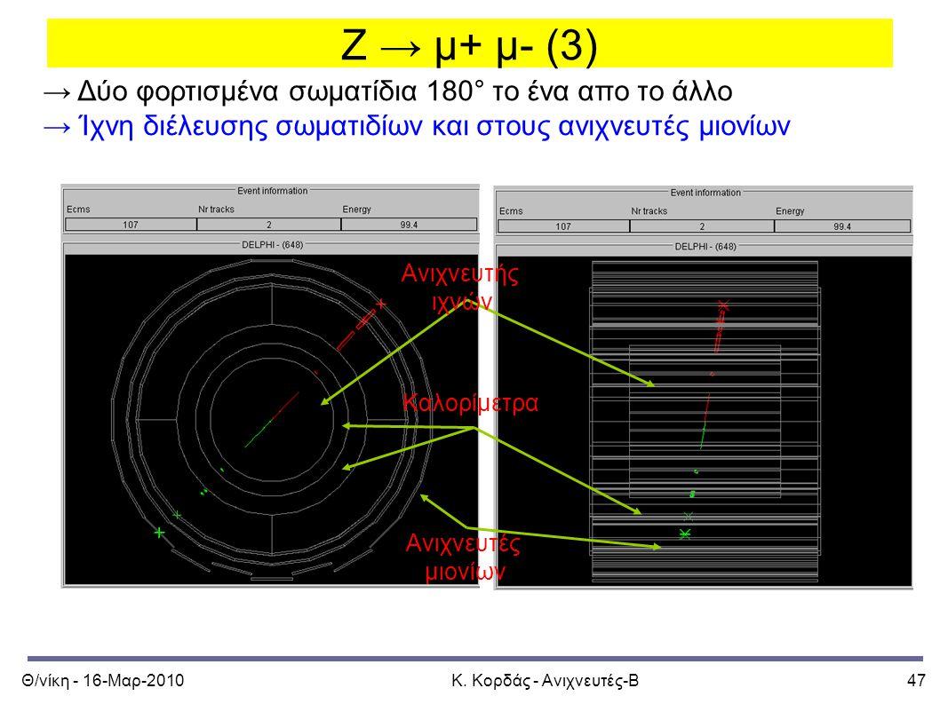 Θ/νίκη - 16-Μαρ-2010Κ. Κορδάς - Ανιχνευτές-Β47 Z → μ+ μ- (3) → Δύο φορτισμένα σωματίδια 180° το ένα απο το άλλο → Ίχνη διέλευσης σωματιδίων και στους