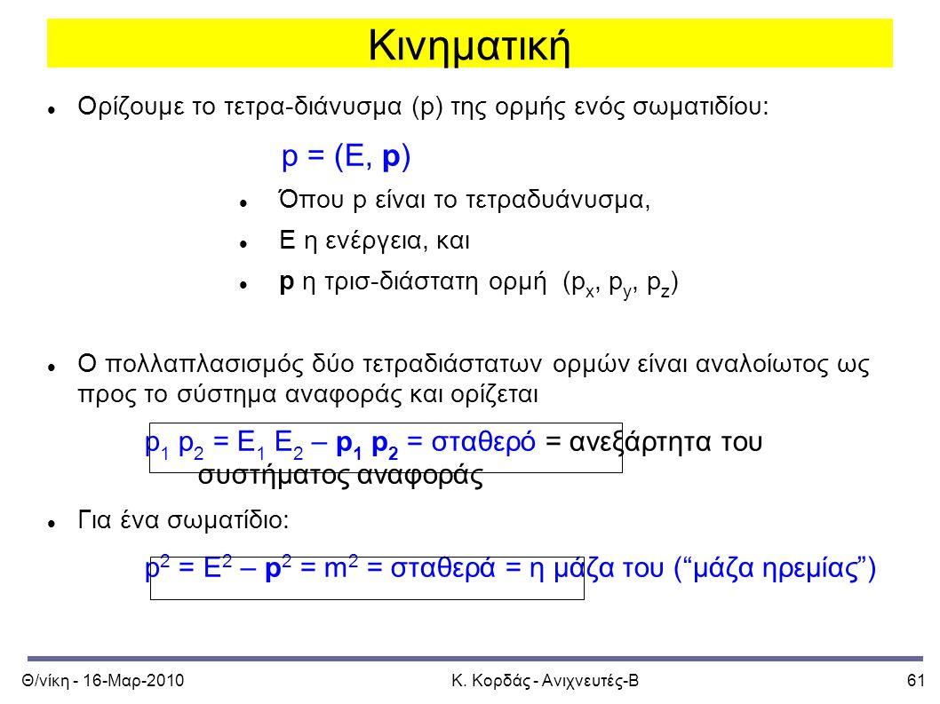 Θ/νίκη - 16-Μαρ-2010Κ. Κορδάς - Ανιχνευτές-Β61 Κινηματική Ορίζουμε το τετρα-διάνυσμα (p) της ορμής ενός σωματιδίου: p = (E, p) Όπου p είναι το τετραδυ