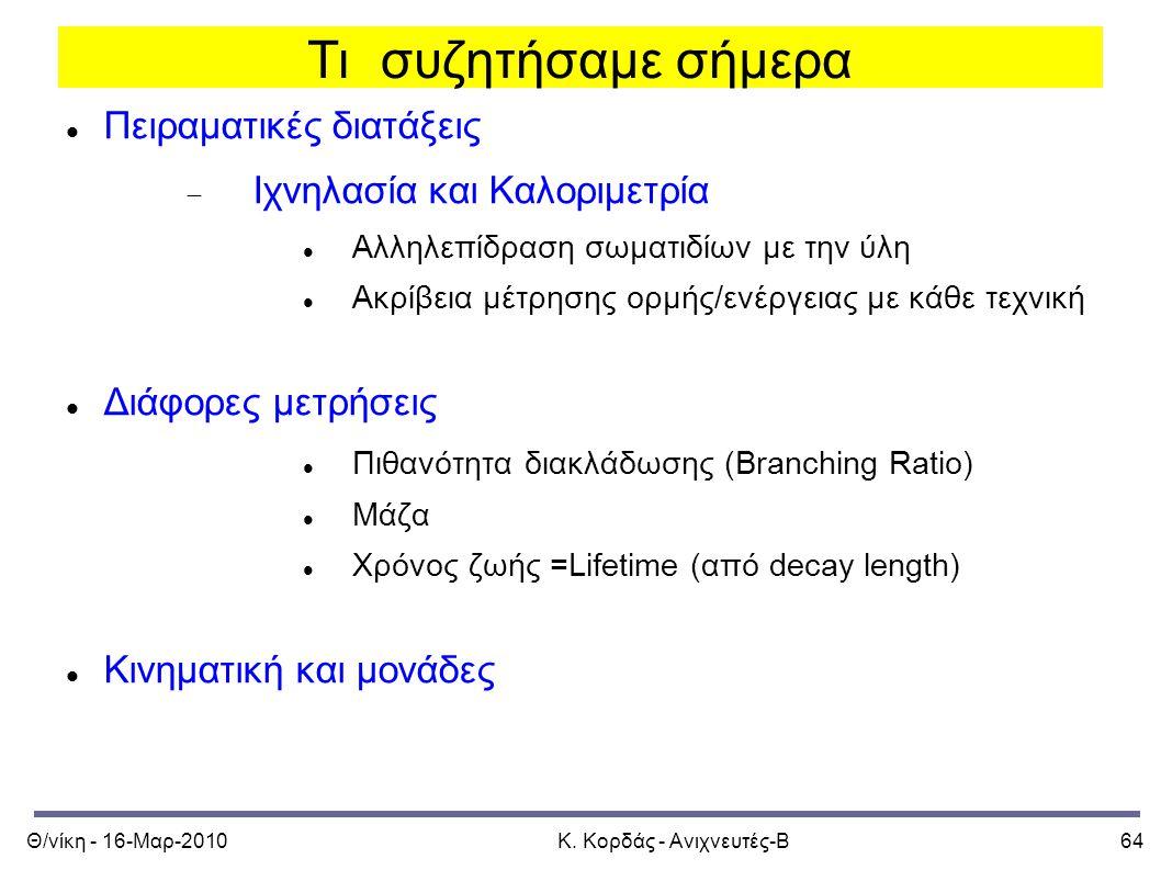 Θ/νίκη - 16-Μαρ-2010Κ. Κορδάς - Ανιχνευτές-Β64 Τι συζητήσαμε σήμερα Πειραματικές διατάξεις  Ιχνηλασία και Καλοριμετρία Αλληλεπίδραση σωματιδίων με τη