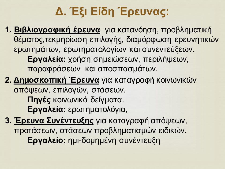 Δ.Έξι Είδη Έρευνας: 1.