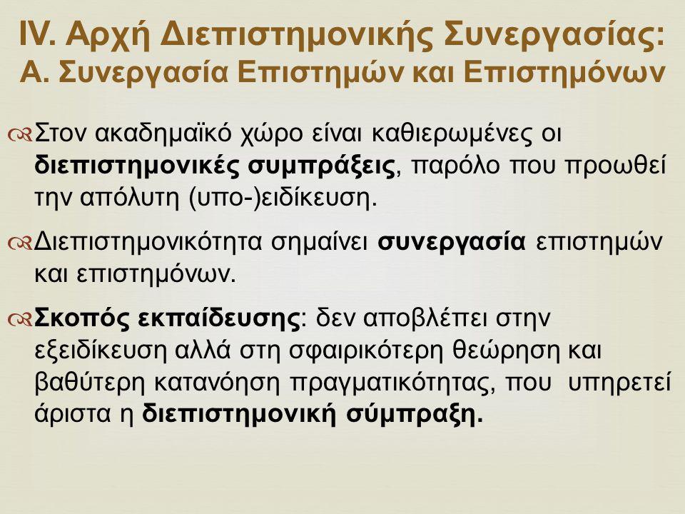 ΙV.Αρχή Διεπιστημονικής Συνεργασίας: Α.