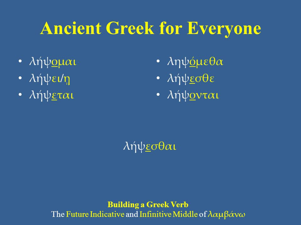 Ancient Greek for Everyone Vocabulary: Principal Parts Greek verbs can morph into a variety of forms (you now know 28 different forms of a verb).