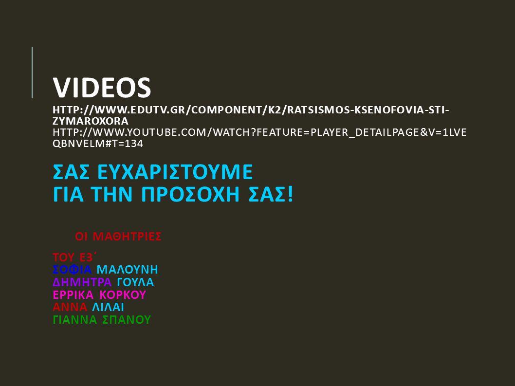 VIDEOS HTTP://WWW.EDUTV.GR/COMPONENT/K2/RATSISMOS-KSENOFOVIA-STI- ZYMAROXORA HTTP://WWW.YOUTUBE.COM/WATCH?FEATURE=PLAYER_DETAILPAGE&V=1LVE QBNVELM#T=1