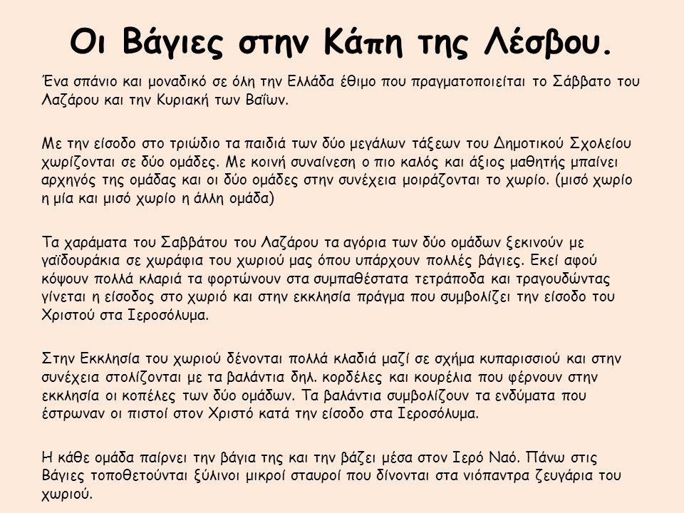 Οι Βάγιες στην Κάπη της Λέσβου. Ένα σπάνιο και μοναδικό σε όλη την Ελλάδα έθιμο που πραγματοποιείται το Σάββατο του Λαζάρου και την Κυριακή των Βαΐων.