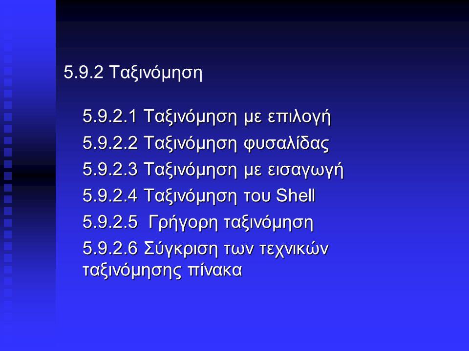 5.9.2 Ταξινόμηση 5.9.2.1 Ταξινόμηση με επιλογή 5.9.2.2 Ταξινόμηση φυσαλίδας 5.9.2.3 Ταξινόμηση με εισαγωγή 5.9.2.4 Ταξινόμηση του Shell 5.9.2.5 Γρήγορη ταξινόμηση 5.9.2.6 Σύγκριση των τεχνικών ταξινόμησης πίνακα