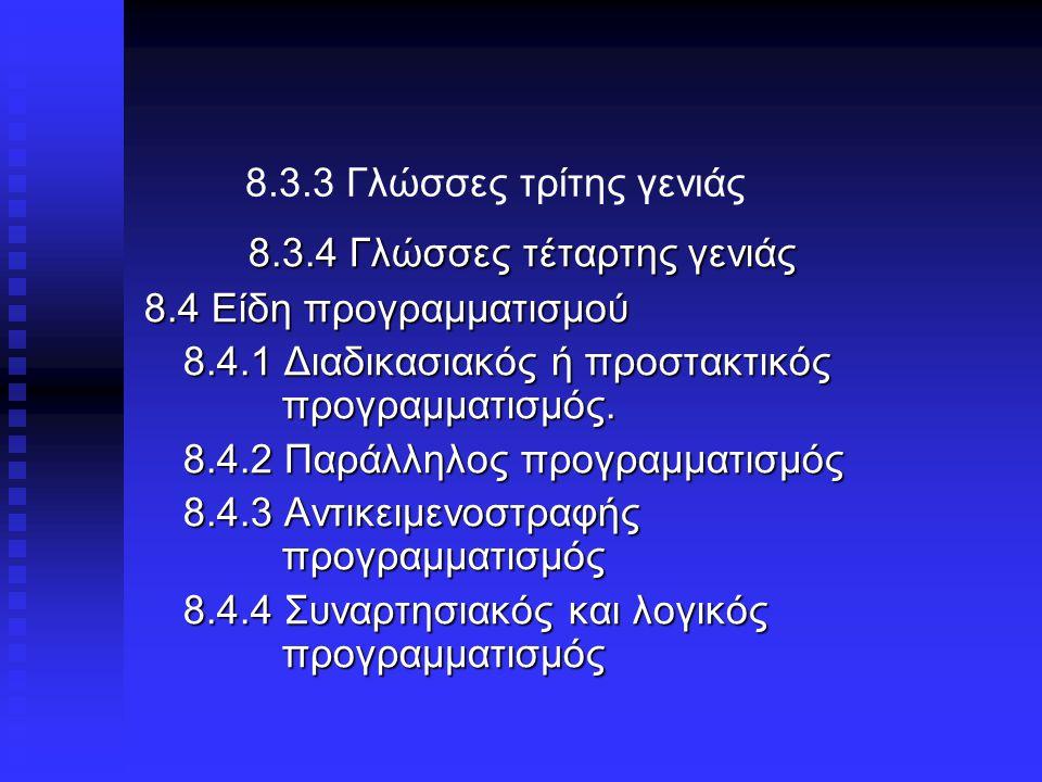 8.3.3 Γλώσσες τρίτης γενιάς 8.3.4 Γλώσσες τέταρτης γενιάς 8.4 Είδη προγραμματισμού 8.4.1 Διαδικασιακός ή προστακτικός προγραμματισμός.